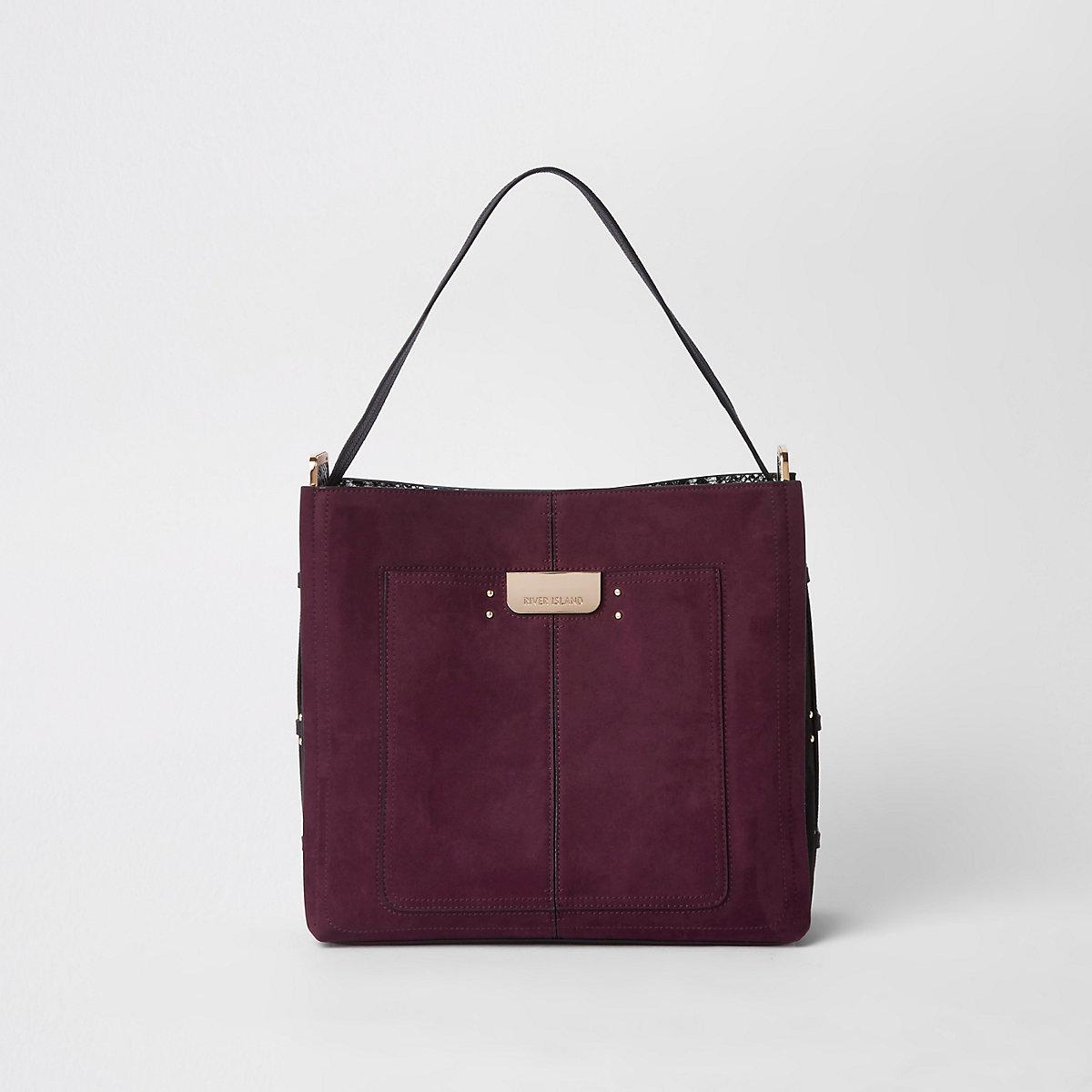 Dark pink tab side slouch bag