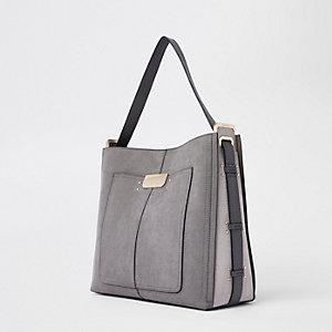 Grey tab side slouch bag