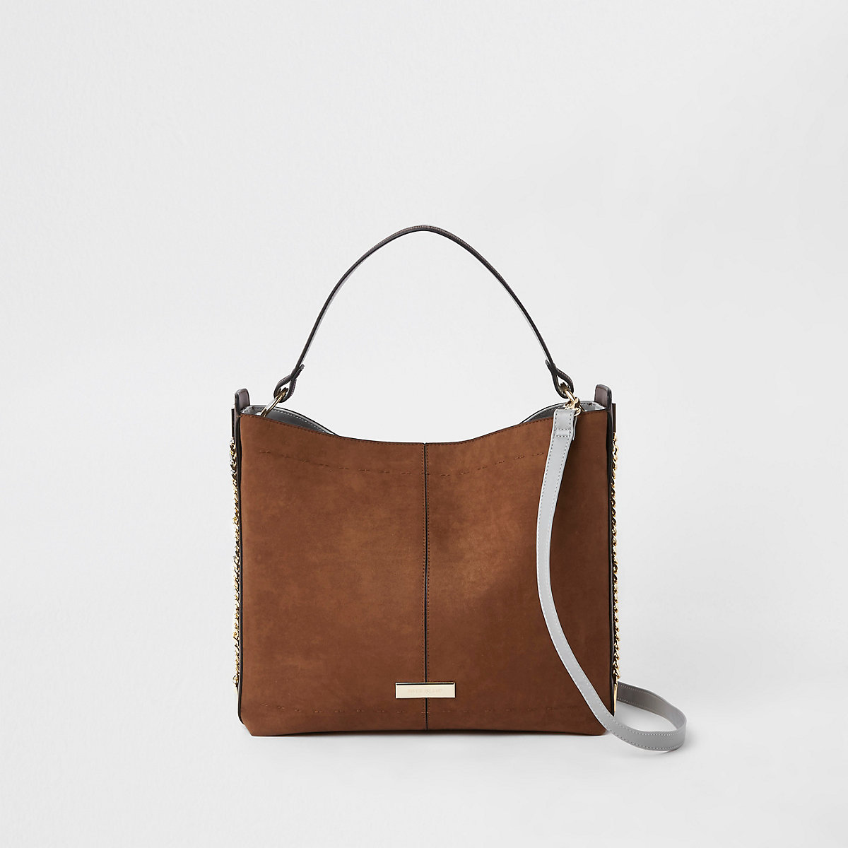 Brown chain side slouch bag