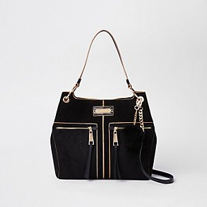 Black pocket front slouch bag