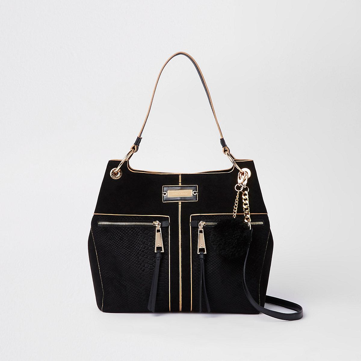 Black pocket front slouch bag