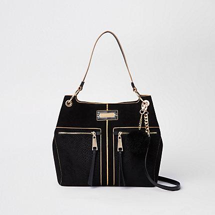 Womens Black Pocket Front Slouch Bag
