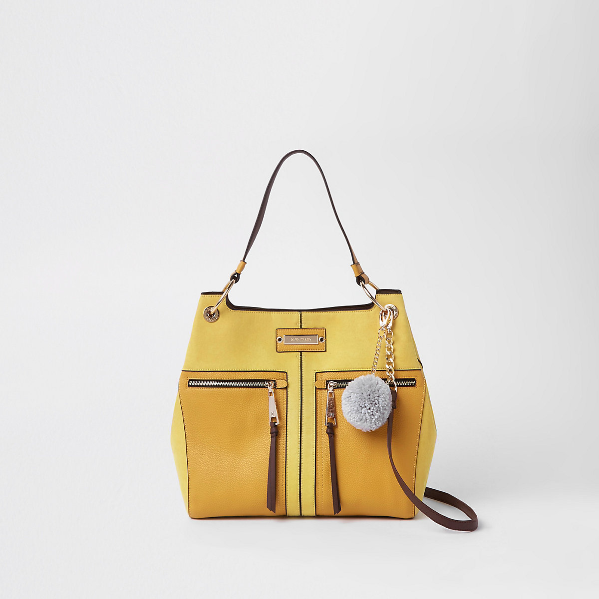 Yellow pocket front slouch bag