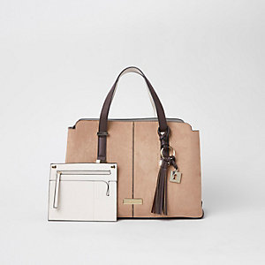Beige triple compartment shopper bag
