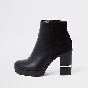 Black faux leather block heel ankle boots