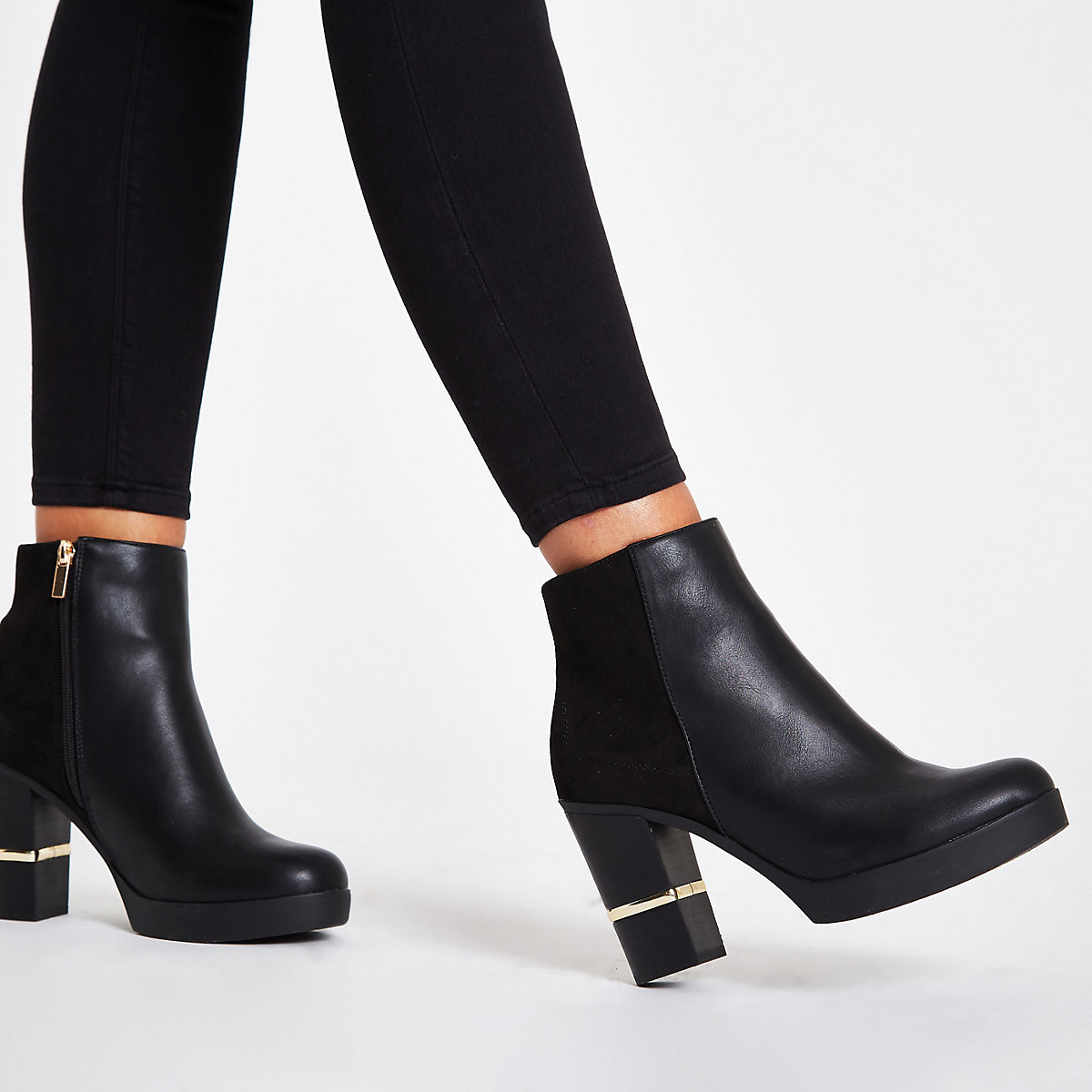 Black faux leather block heel ankle boots - Boots - Shoes   Boots ... 28154cc64117