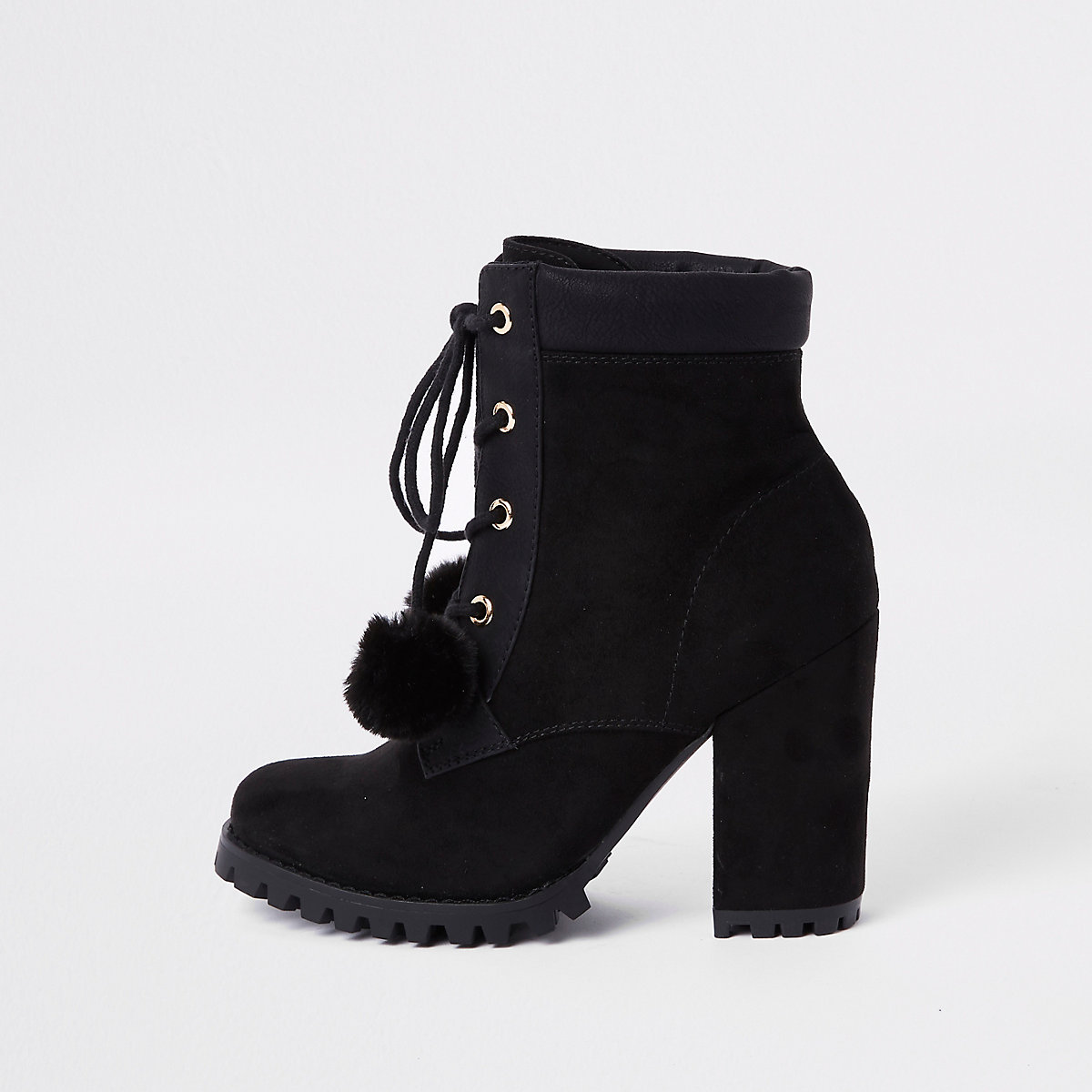 Black lace-up pom pom chunky ankle boots