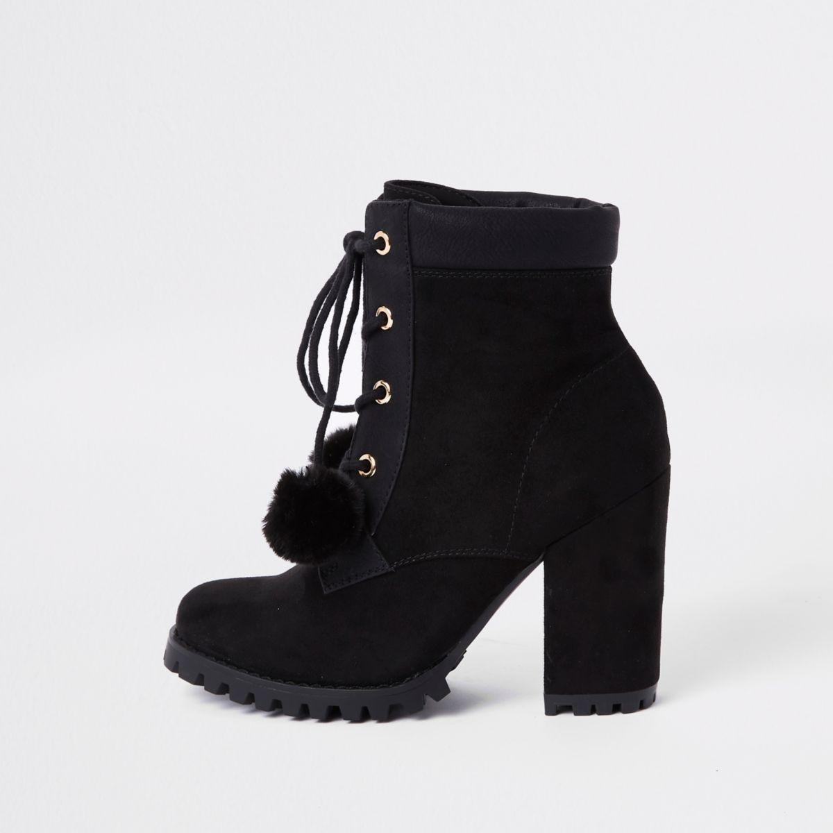 Black lace-up pom pom chunky ankle boots