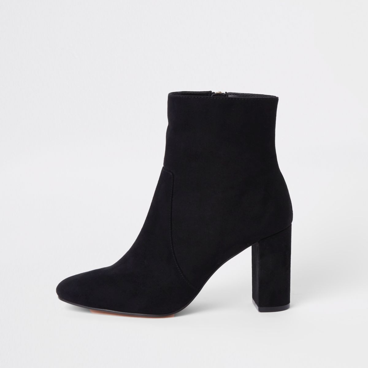 Black chunky block heel ankle boots