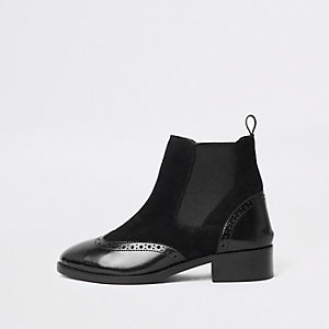 Black brogue detail ankle boots