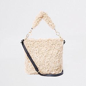 Beige ruime tas met textuur en borg