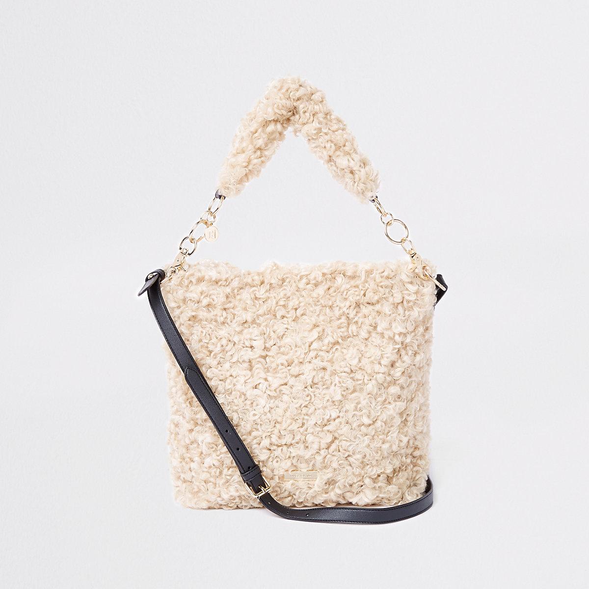 Beige textured fleece slouch bag