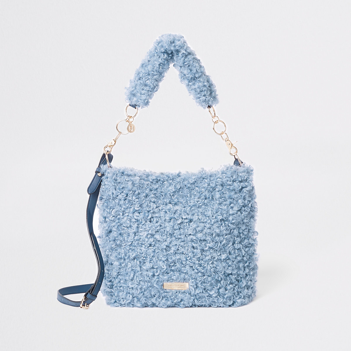 Blue textured fleece slouch bag