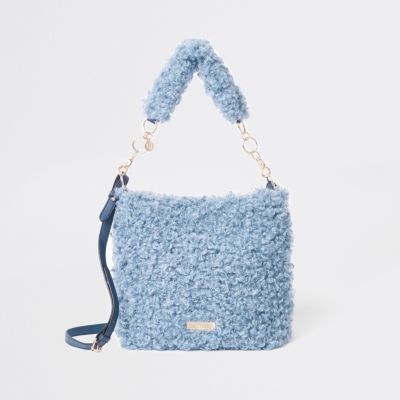 Blue textured borg slouch bag