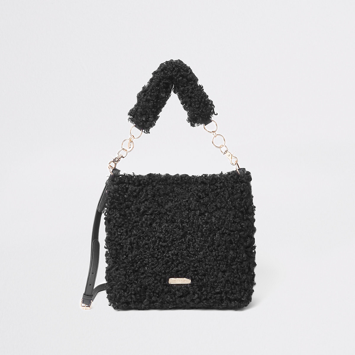 Black textured borg slouch bag