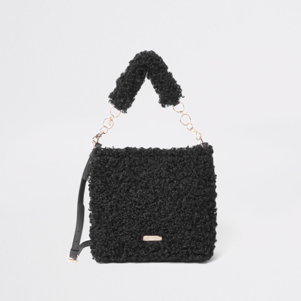 Black textured borg slouch bag