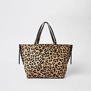Brown leopard print leather shopper bag