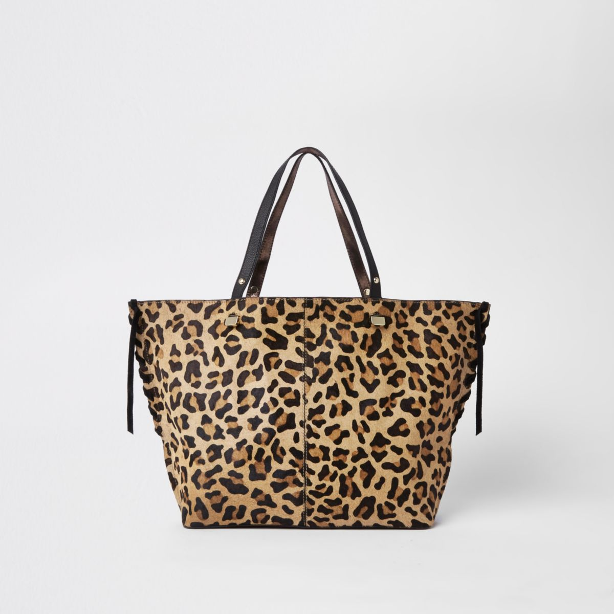 Brown leopard print leather shopper bag