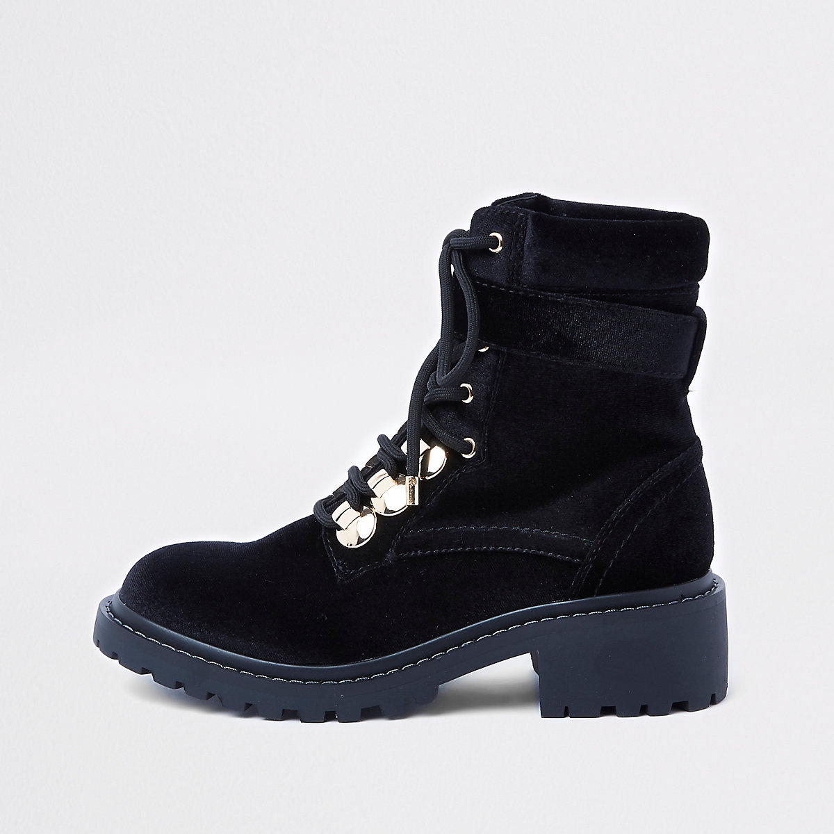Black lace-up chunky hiking boots - Boots - Shoes   Boots - women 607da47a7