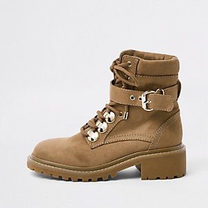 Beige faux suede lace-up boots