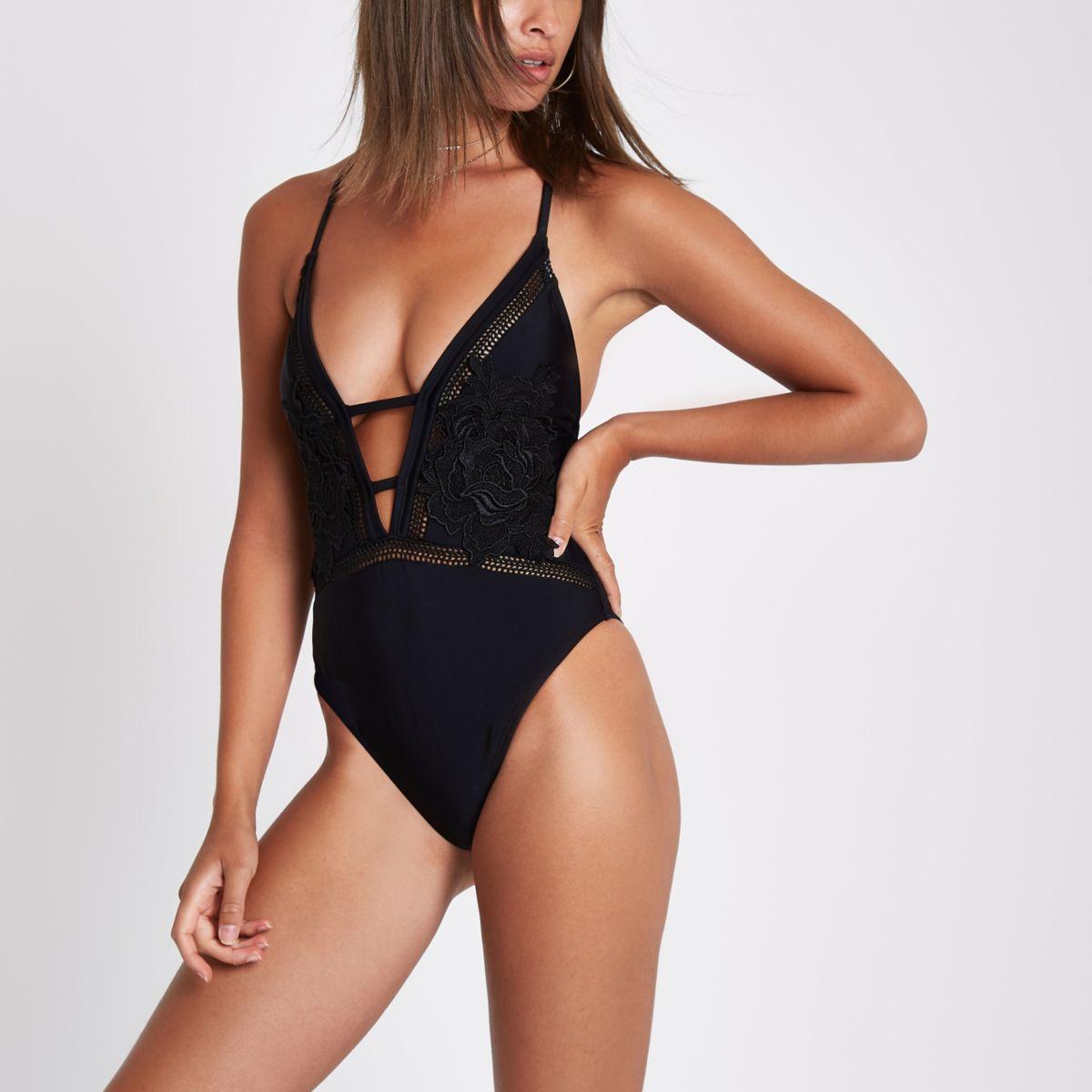 Black floral applique plunge swimsuit