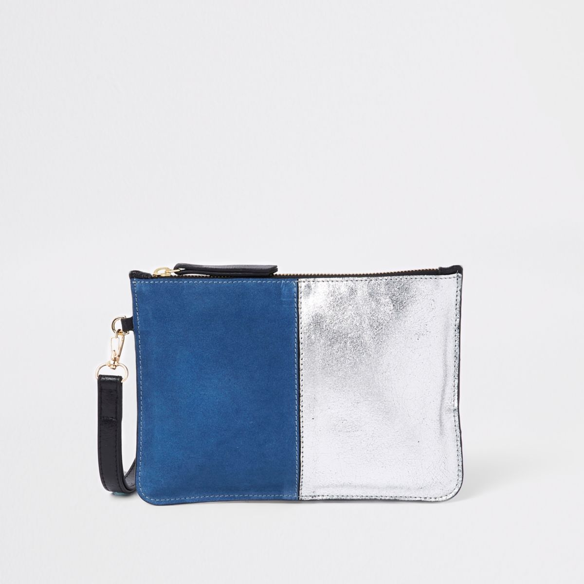 Blue leather pouch clutch bag