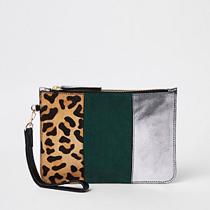 Brown leather print panel clutch bag