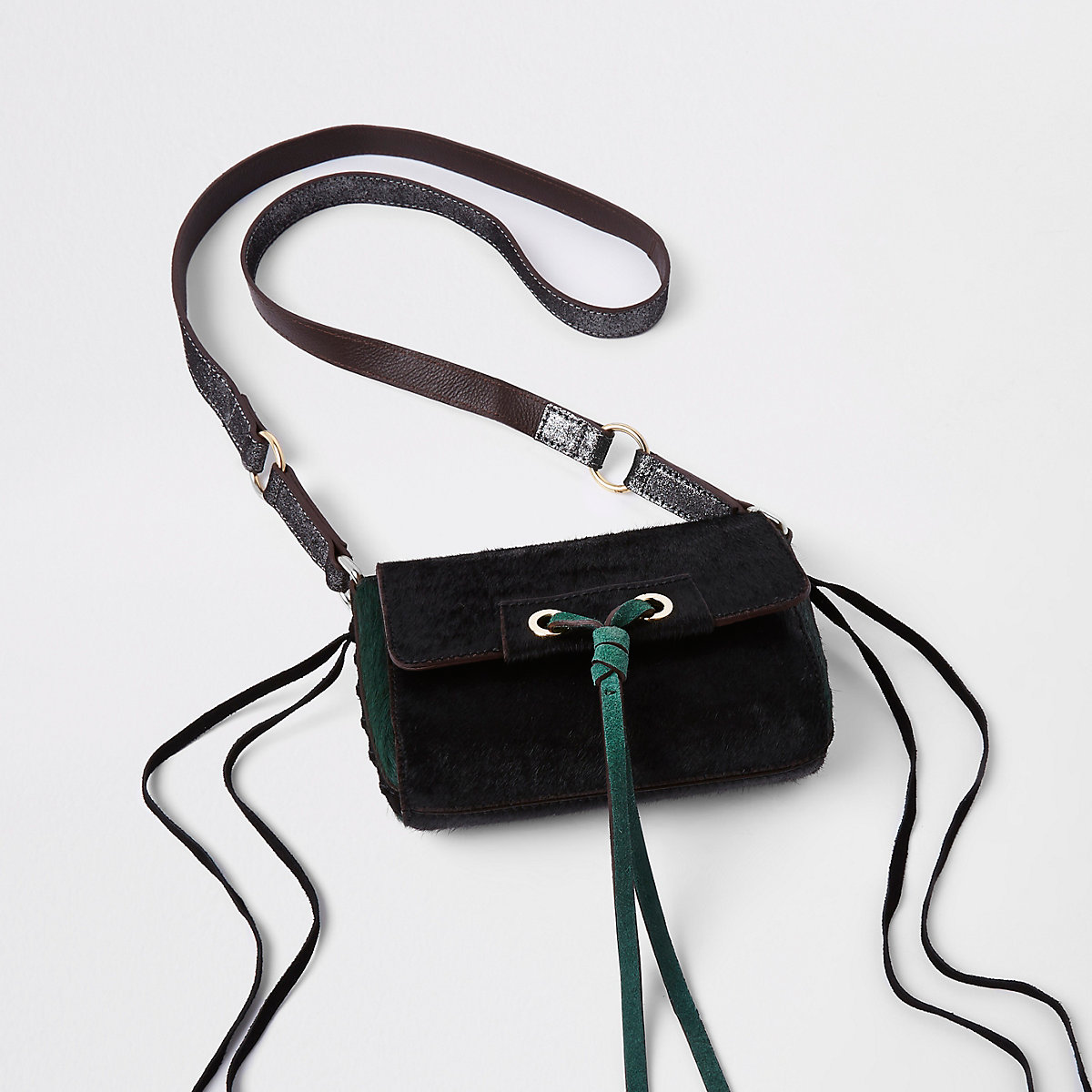 Green leather knot front cross body bag