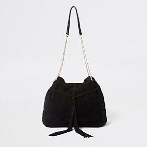 Schwarze Beuteltasche aus Leder