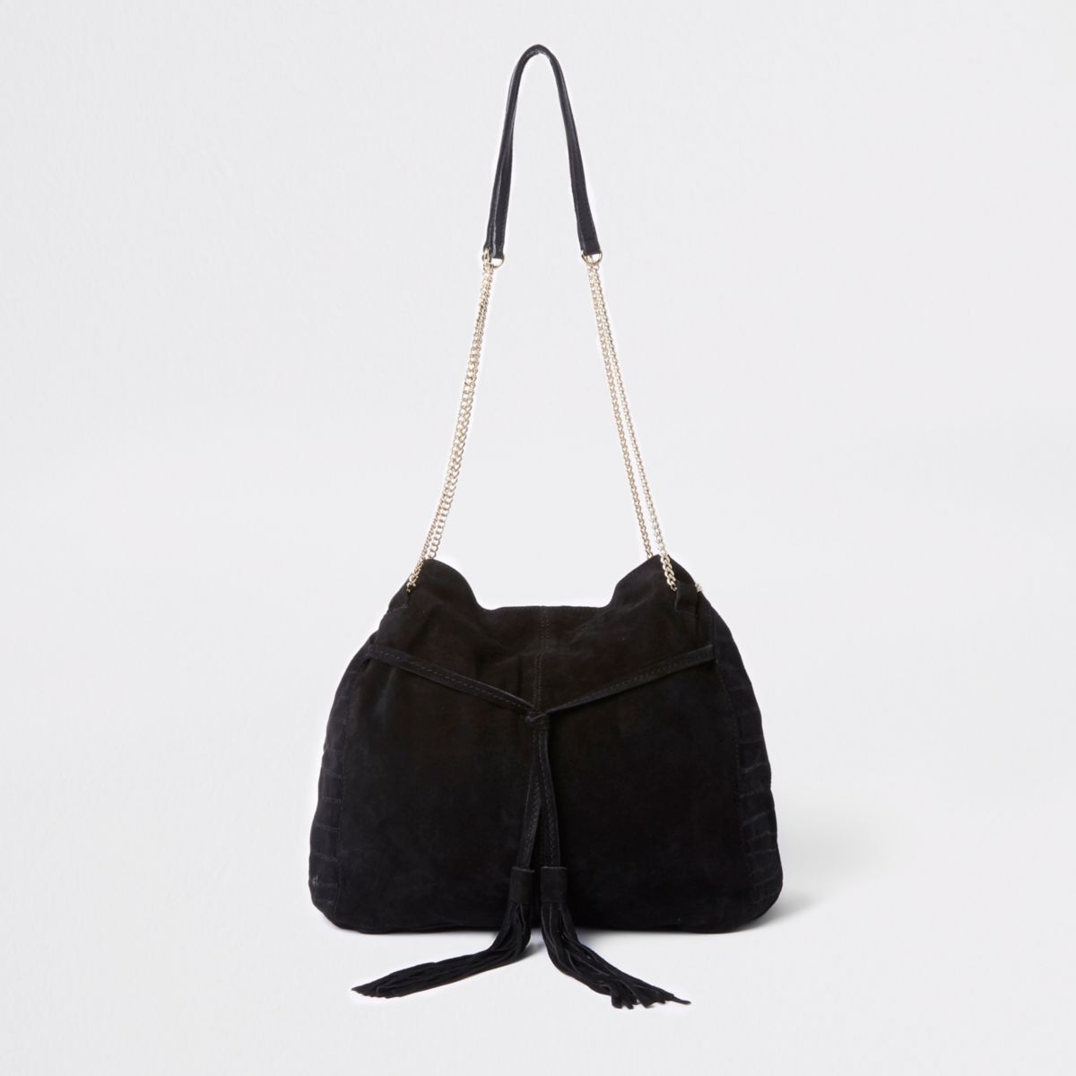 Black leather chain slouch bag