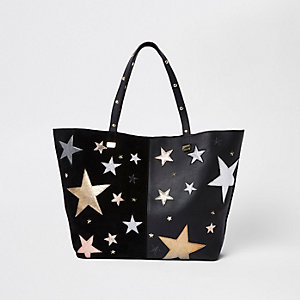 Schwarze Tote Bag aus Leder mit Stern