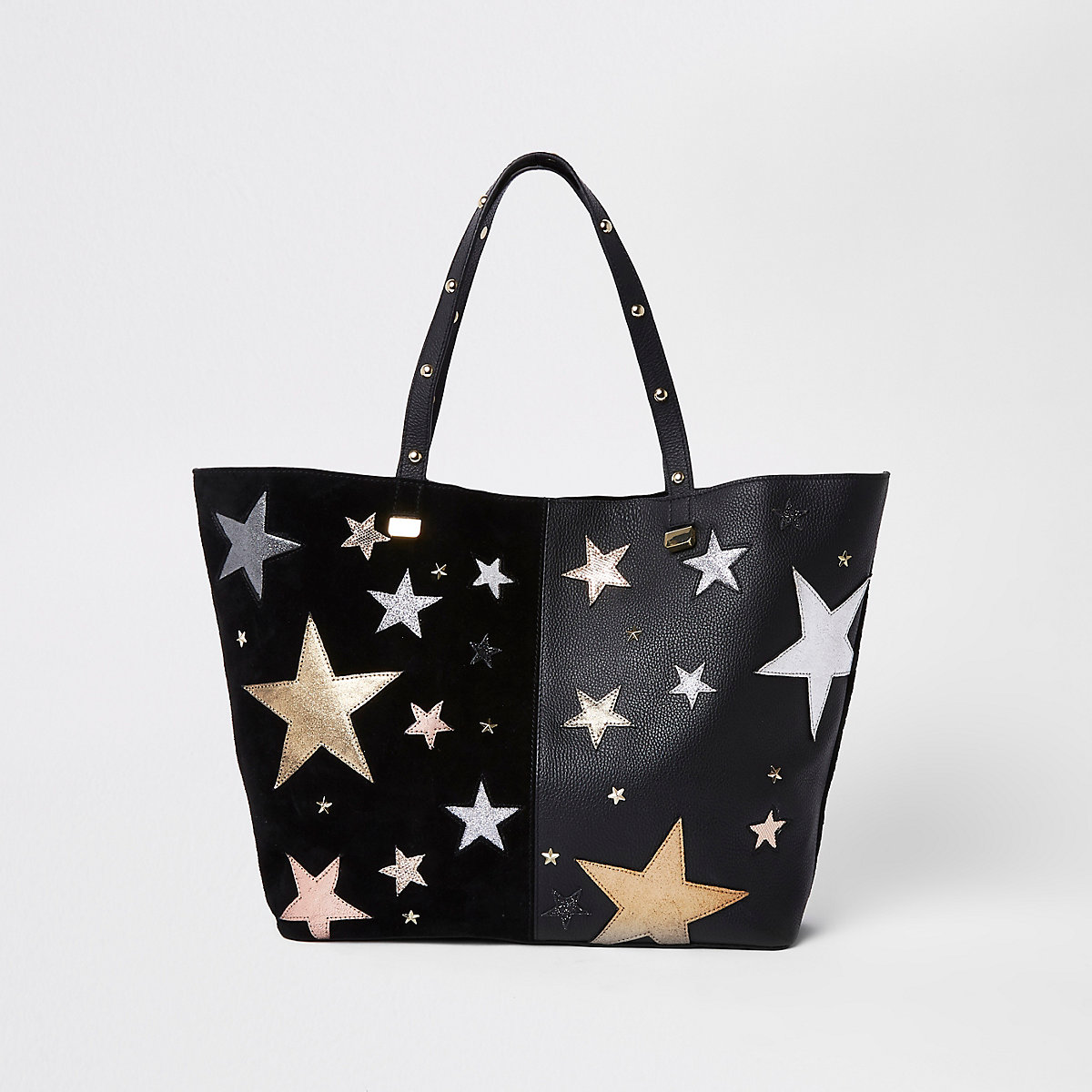 Black leather star embroidered tote bag