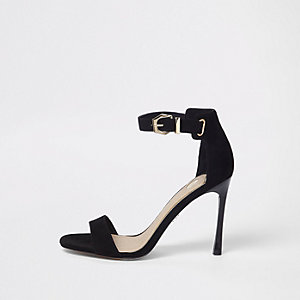 Black barely there sandals
