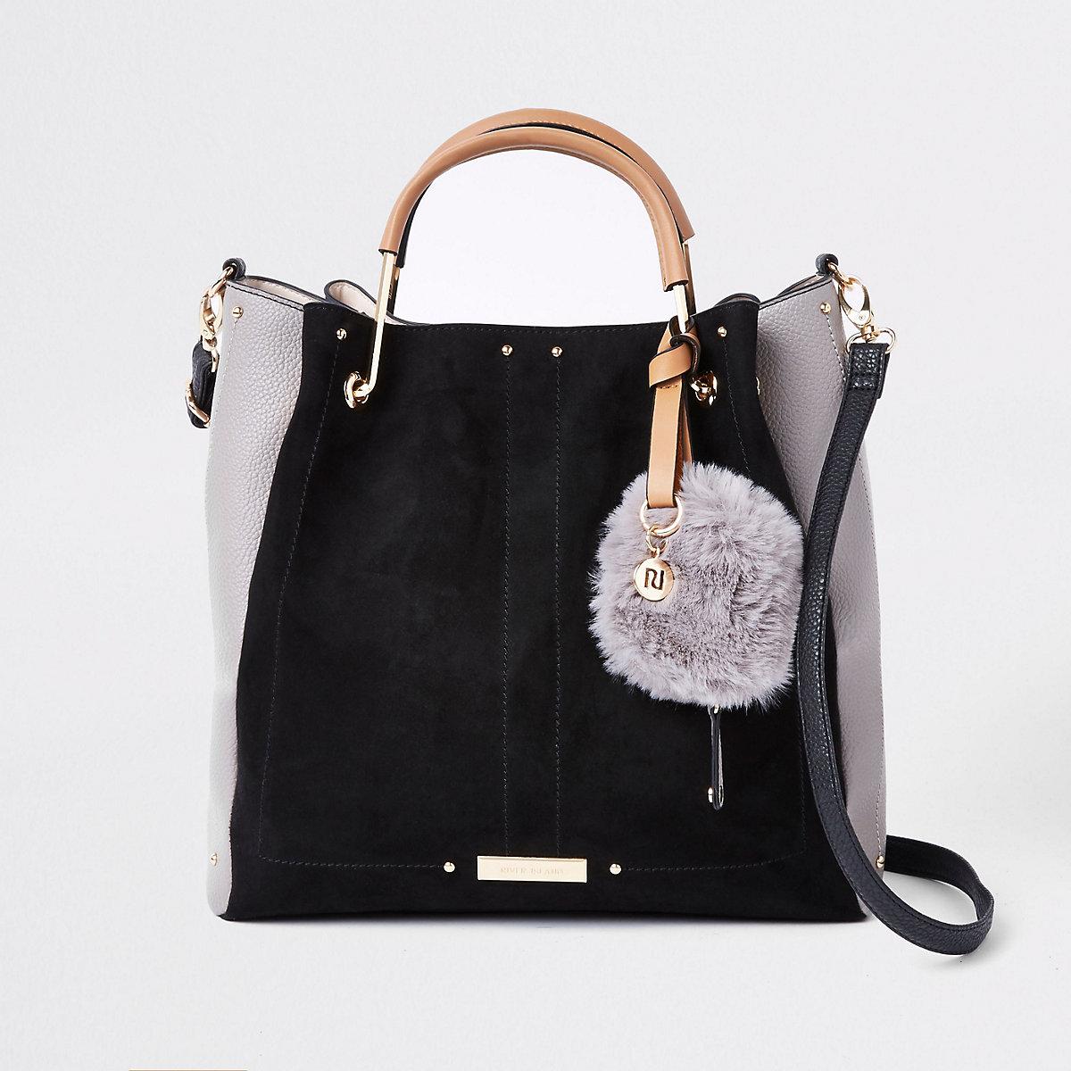 Black gold tone handle slouch bag