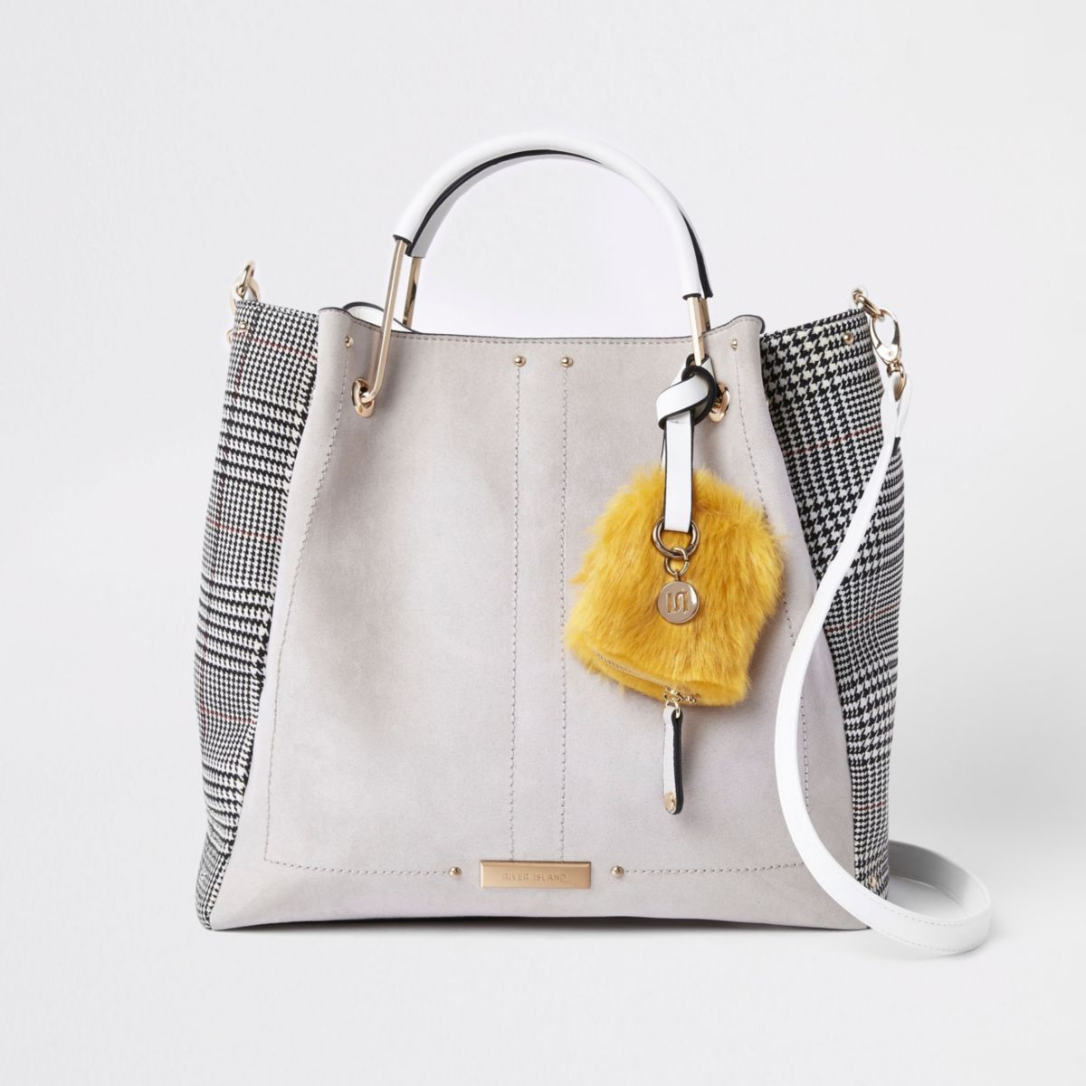 Grey check gold tone handle slouch bag