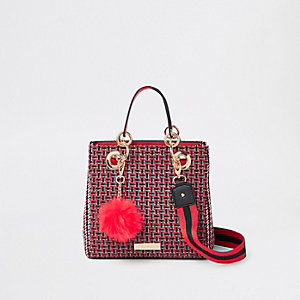 Red check square mini tote bag
