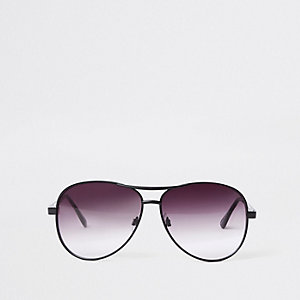 Black purple lens aviator sunglasses