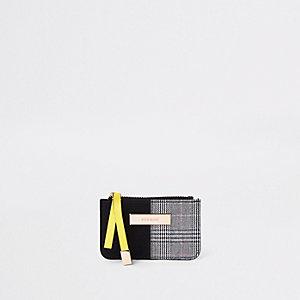 Black check print slim mini purse