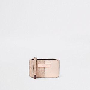 Roségoudkleurige metallic smalle portemonnee met glitter
