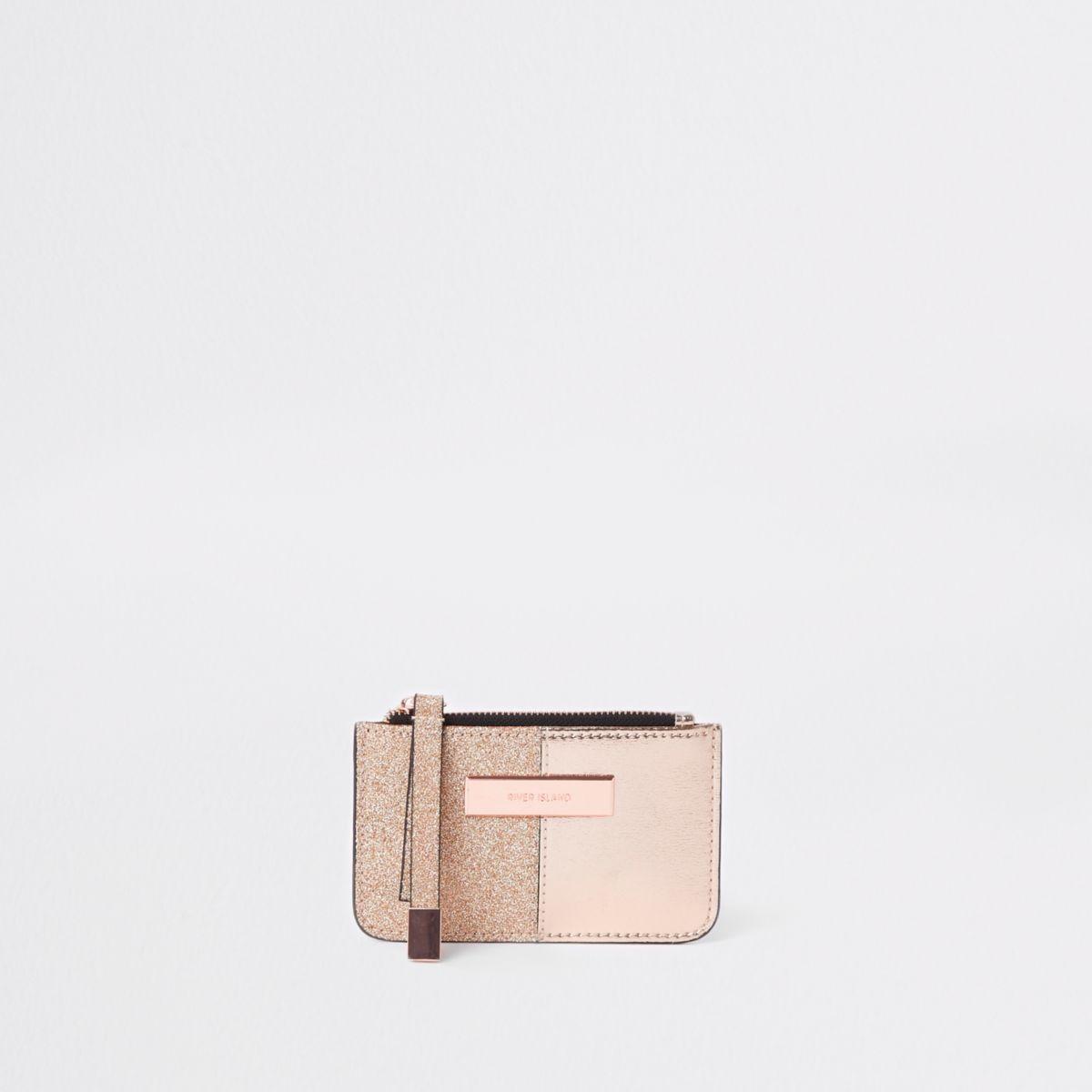 Rose gold tone metallic glitter slim purse