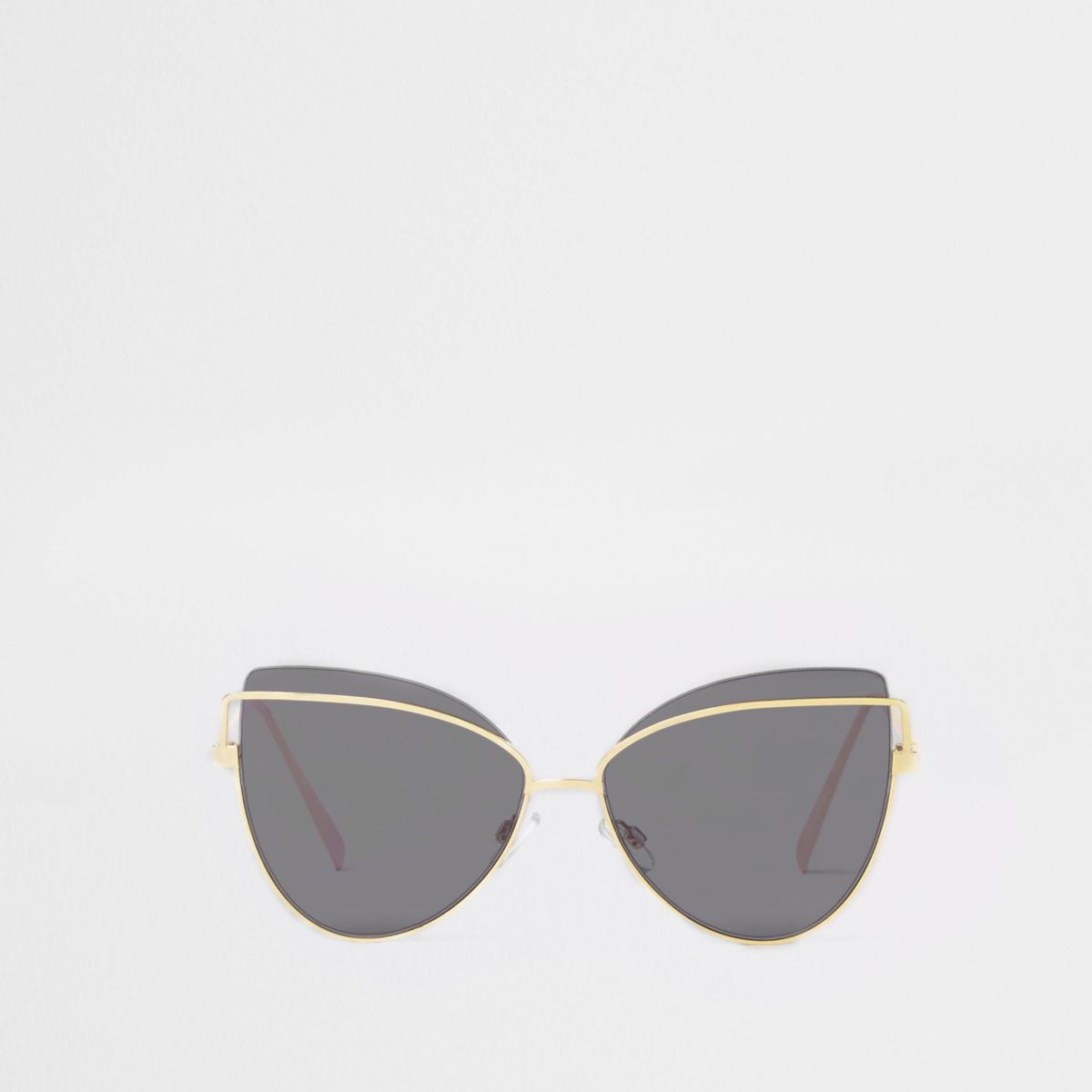 Gold tone black lens cat eye sunglasses