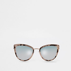 Rose gold tone cat eye smoke lens sunglasses