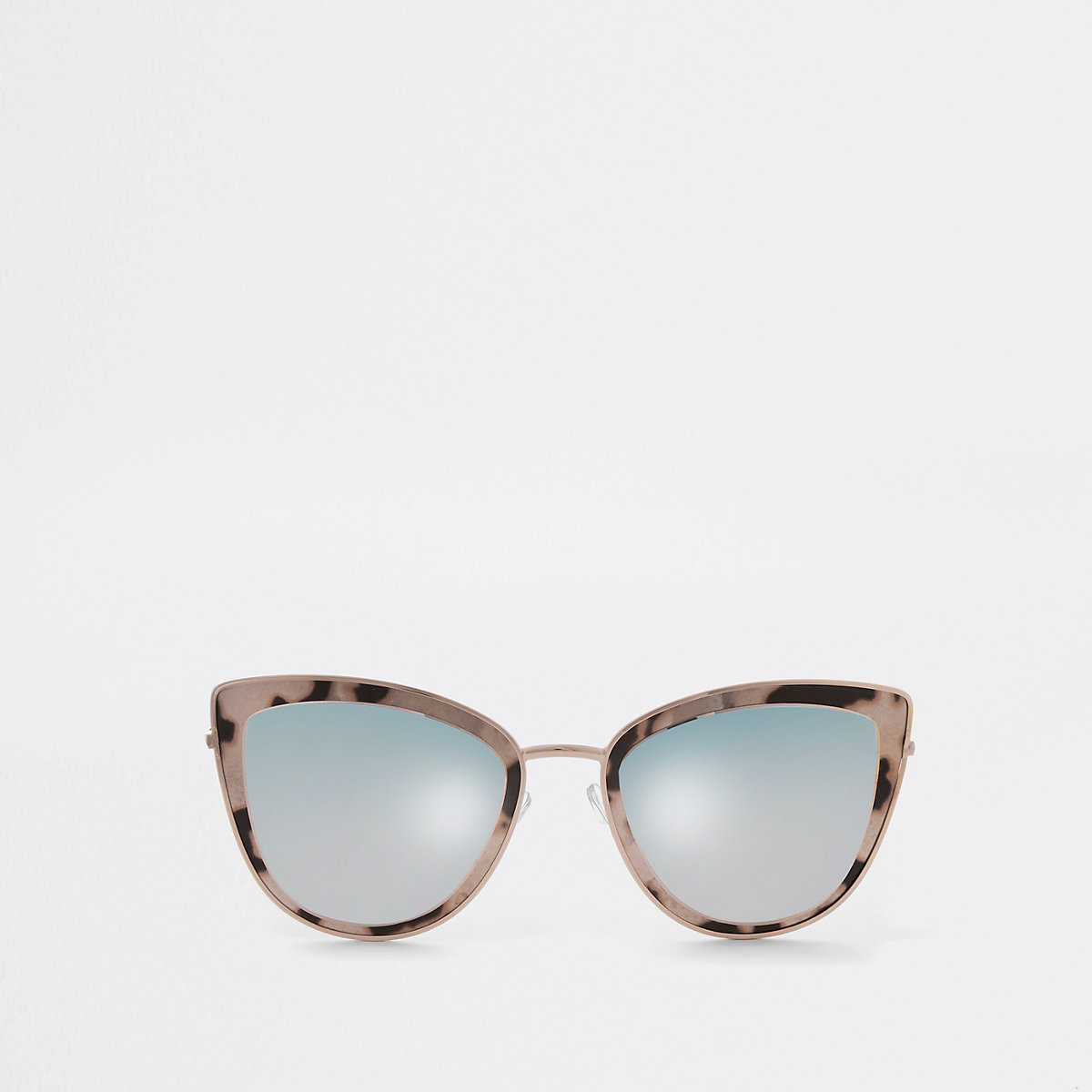 Rose gold tone cat eye smoke lens sunglasses