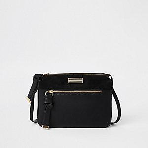 Zwarte crossbodytas met drie vakken