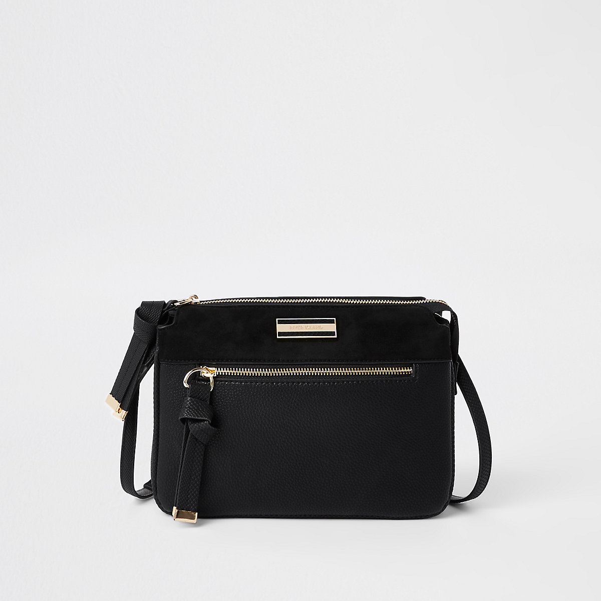 Black triple compartment crossbody bag
