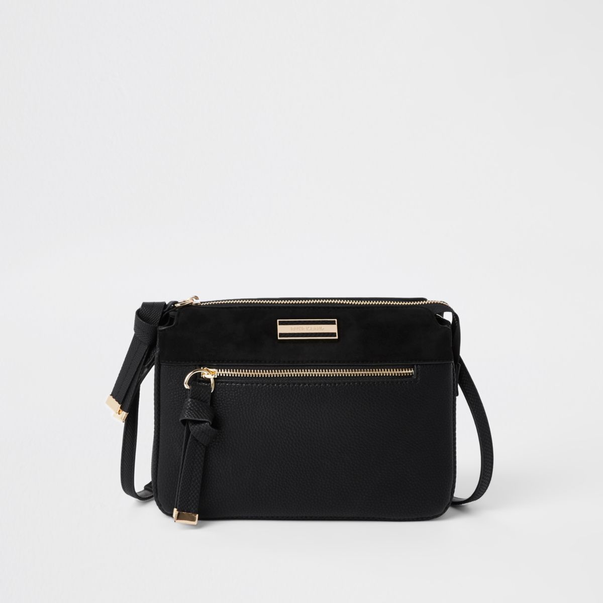 Black triple compartment crossbody bag
