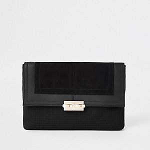 Black lock front clutch bag
