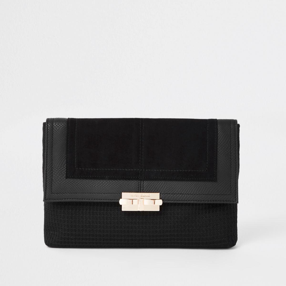 Black lock front clutch bag