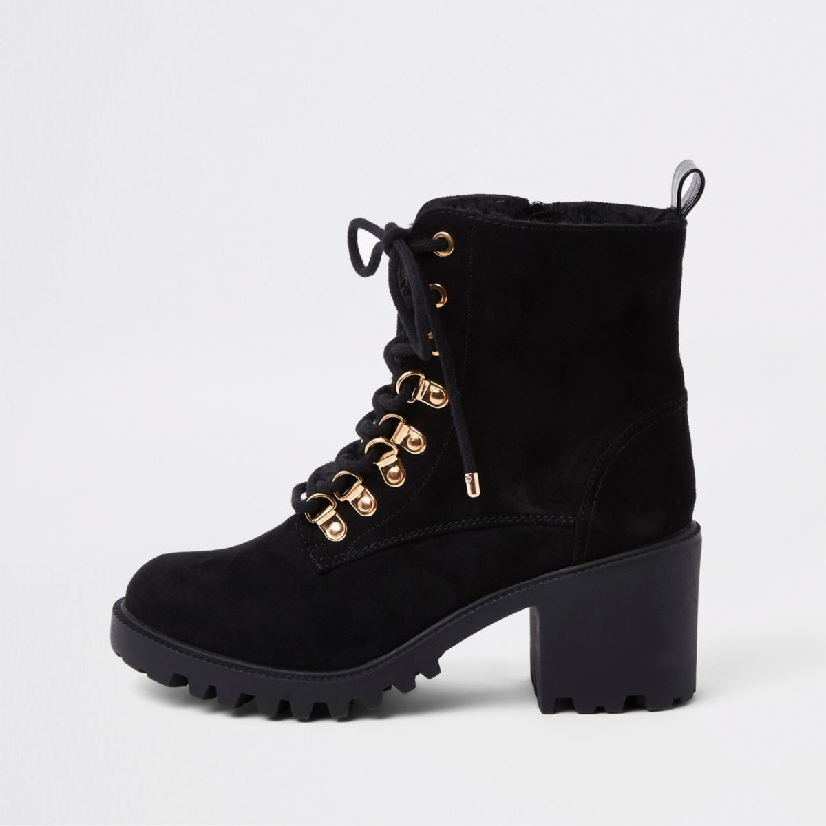 Black faux fur tongue lace-up chunky boots