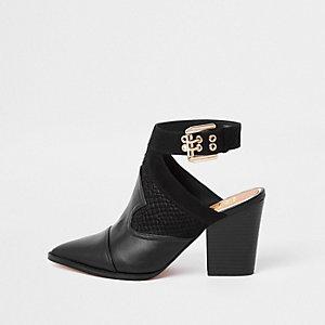 Zwarte western schoenlaarsjes met puntige neus